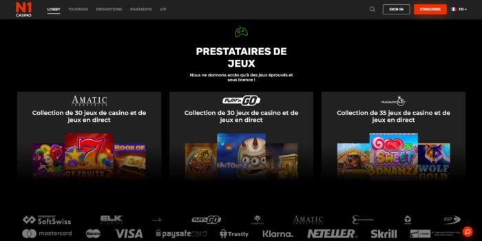 Prestataires de Jeux N1 Casino