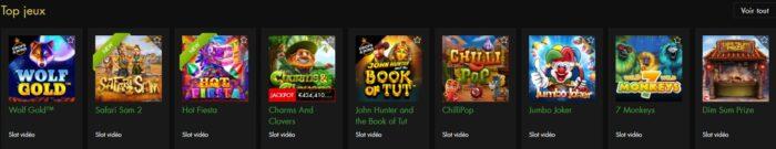 Catégories de jeux disponibles sur Rich Casino
